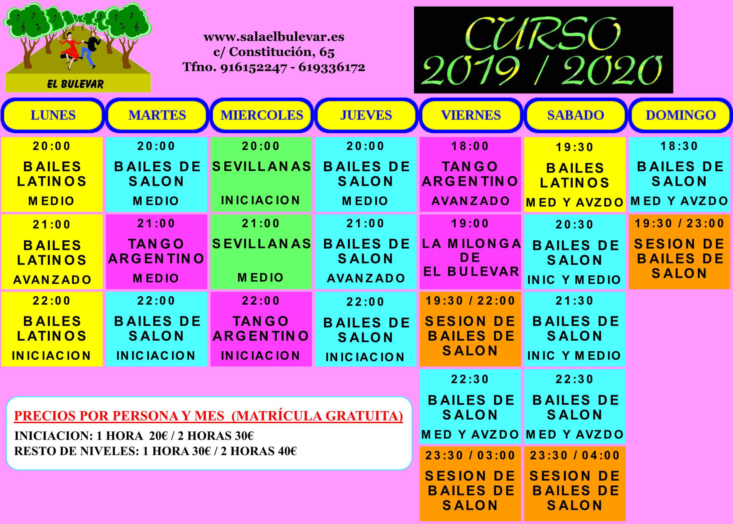 HORARIO CLASES 2019-2020
